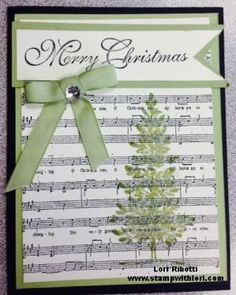 Stampin Up Lovely as A Tree Printed off music sheets from the computer, (can paste 4 onto a page), and stamped over top. by bethany
