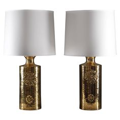 Pair of Ceramic Gold Plated Table Lamps by Bitossi for Bergboms