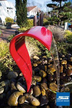 Brunnen Aus Stahl Und Edelstahl Mit Beleuchtung. | Metallkunst ... Wasserfalle Fur Den Garten