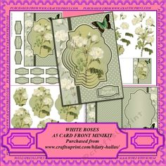 A four page minikit to make an A5 card featuring beautiful white roses with a green butterfly.  The kit includes an A5 card front, a choice of pyramid or decoupage layers, matching insert and gift tag and a choice of sentiment tags.