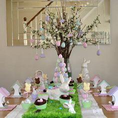 I like the fake grass runner idea.. I always have such a hard time decorating for easter because im not into pastels when decorating my home.. These are good ideas.