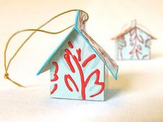 michele made me: A Little House-ly Encouragement-Tissue Box House Ornament Handmade Christmas Crafts, Handmade Ornaments, Christmas Projects, Christmas Ideas, Holiday Ideas, Merry Christmas, Christmas Patterns, Christmas Things, Christmas Paper