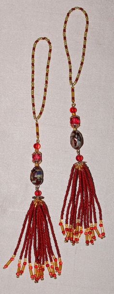 BEADED TASSELS Burgundy-rose vintage beads home by GMBDesignsCustom, $18.00
