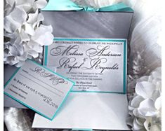 Silver and Tiffany Blue Invitation by VPElegance on Etsy Wedding Songs Reception, Wedding Themes, Wedding Designs, Our Wedding, Wedding Blue, Wedding Decor, Wedding Ideas, Elegant Wedding Invitations, Invitations Quinceanera