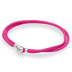 $21 PANDORA Hot Pink Fabric Cord Bracelet