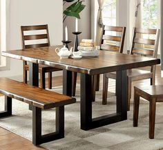Furniture of America Maddison Contemporary Style Tobacco Oak Finish Dining Table Rustic Dining Room Sets, Dinning Table Design, Rectangle Dining Table, Furniture Dining Table, Solid Wood Dining Table, Dining Area, Dining Bench, Wooden Dining Table Designs, Wooden Dining Set