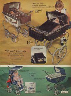 I think I've got a pic of myself pushing that white doll carriage down the sidewalk. Vintage Stroller, Vintage Pram, Vintage Dolls, Little Girl Toys, Toys For Girls, Childhood Toys, Childhood Memories, Vintage Advertisements, Vintage Ads