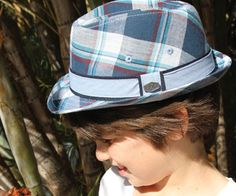 Boys Check Fedora. Perfect for beach to parties. This Fedora is made from 100% cotton blue check material with a chambray and navy detail around the crown