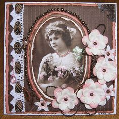 Gorgeous heritage colorized portrait page with crocheted lace border, beaded accents and dimensional flowers.
