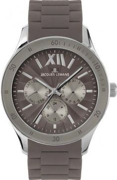 e6229a14a3c8 Jacques Lemans 1-1691A Women s Watch Grey Dial Grey Silicone Band Day Date  Stainless