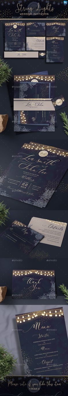 String Lights Invitation — Photoshop PSD #String lights #wedding invitation suite • Download ➝ https://graphicriver.net/item/string-lights-invitation/22053201?ref=pxcr