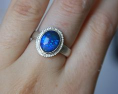 Black Opal Sterling Silver Ring by JPMJewellery on Etsy, $105.00