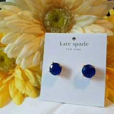 Kate Spade Small Navy Studs Beautiful navy studs from Kate Spade. Excellent condition. Worn a few times. Comes on card as shown. kate spade Jewelry Earrings