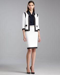 St. John - Shop Online - Collection - Grasse Tweed Jacket, Cap-Sleeve Ascot Blouse, Grasse Tweed Pencil Skirt & Chain Belt