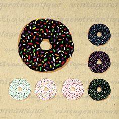 Printable Graphic Donut with Sprinkles Image Doughnuts Digital Collage Sheet Download Vintage Clip Art 18x18 HQ 300dpi No.1995 @ vintageretroantique.etsy.com