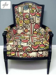 chair makeover using lewis & sheron's whirligig fabric