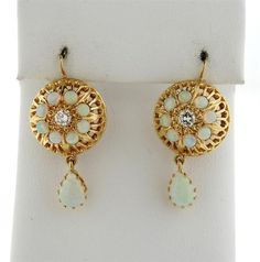 14k Gold Opal Diamond Drop Earrings Featured in our upcoming auction on November 17!