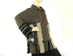 Plus size sweater cardigan XL fashion recycled black by jill2day, $167.00