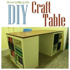 Make Your Own Custom Craft Table.... this is a sweet craft table.... perfect for scrapbooking! My home is going to be littered with those Ikea bookshelves.