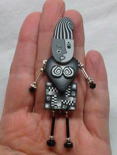 """Polymer Clay   """"Feeling Grey""""   Funky Lady Pin  Lynne Manning. How cute is this!"""