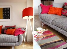 Interior designer Andrienne Chinn decorates apartments with full-color cool funky retro inspired style of the Tate Modern Gallery. Retro Interior Design, Interior Design Inspiration, Cool Couches, Grey Couches, Colorful Apartment, Apartment Design, Apartment Ideas, Modern Retro, Interior Exterior