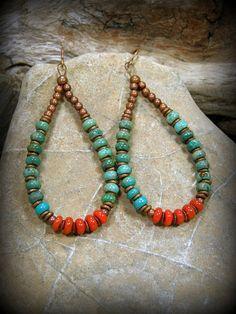 Turquoise Earrings, Hoop Earrings, Southwest Jewelry, Native American Inspired Jewelry, Earrings,  by StoneWearDesigns