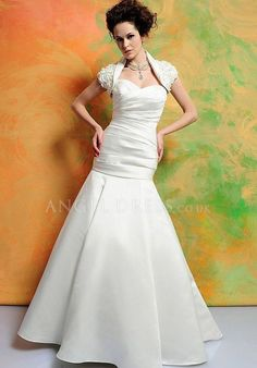 Sweetheart Satin Fit N Flare Zipper up Floor Length Sleeveless Wedding Dress