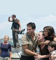 (L-R) Andrea (Laurie Holden), Daryl Dixon (Norman Reedus), Shane Walsh (Jon Bernthal), Carol (Melissa Suzanne McBride), Lori Grimes (Sarah Wayne Callies) and Carl Grimes (Chandler Riggs)