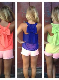 Neon Sleeveless Top with Bow Back Detail