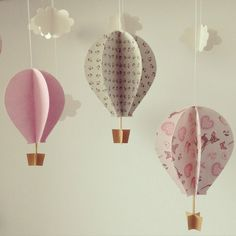 Image of Mongolfiere – bimba - Party Time 2020 Diy Home Crafts, Cute Crafts, Crafts To Do, Balloon Birthday Themes, Decoration Creche, Diy Paper, Paper Crafts, Diy Hot Air Balloons, Summer Crafts For Kids