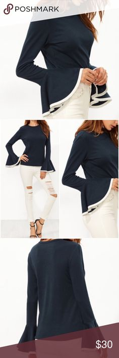 Navy/White Bell Sleeve Top. Price firm. Navy with contrast white binding bell sleeve top. Material-Cotton. For exact measurements see size chart. (#9701) Boutique Tops Tees - Long Sleeve