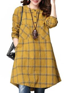 Women Checked Long Sleeve Plaid Grid Loose Casual Dresses The most beautiful and newest outfit ideas Robes Vintage, Vintage Dresses, Kurta Designs, Blouse Designs, Casual Wear, Casual Dresses, Casual Shirt, Tunic Dresses, Plaid Dress