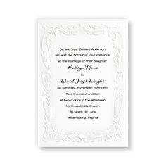 INVITATIONS: CLASSIC AND SIMPLE  Embossed Splendor Wedding Invitations by TheAmericanWedding.com