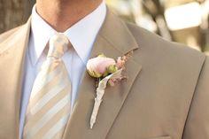 Sand tux, white shirt, stripped tie, pink boutonniere