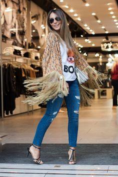 Lalá Noleto Estilo Fashion, Ideias Fashion, Summer 2014, Summer Outfits, Kimono Top, Jeans, Street Style, Girls, Hair