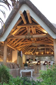 Beautiful gabled thatched roof entrance in a natural timber finish with an outdoor kitchen! Outdoor Gazebos, Outdoor Rooms, Outdoor Living, Outdoor Structures, Outdoor Kitchens, Outdoor Decor, Roof Design, House Design, Tall Ornamental Grasses