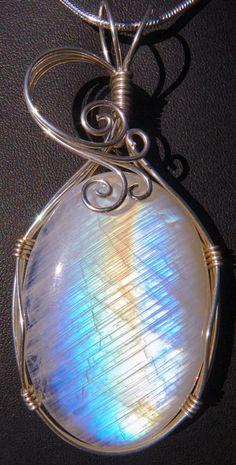 Rainbow moonstone wrapped