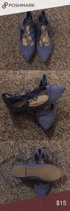 SALE! Lace Up Pointy Flats NWOT! Never worn outside, only inside to try on. Decided they're not my style. Lace up. Dusty blue with purple hue. Faux suede. Gold accents. Old Navy Shoes Flats & Loafers