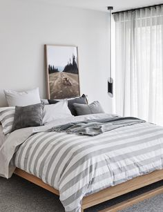 100% Egyptian Cotton Quilt Cover & Pillowcases - Thick Stripe Design - Abode Living