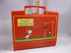 Vintage 1971 Snoopy And Woodstock Plastic Lunch Box And Metal Thermos.epsteam