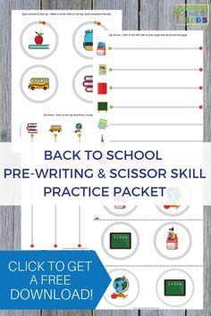 Back to School Pre-Writing Lines and Scissor Practice Packet for Preschoolers ages Preschool Age, Preschool Curriculum, Kindergarten, Preschool Ideas, Scissor Practice, Scissor Skills, Writing Lines, Pre Writing, French Language Learning