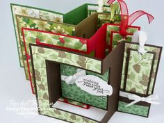 Click here to see how to make a uniquely folded card that I'm calling a bookshelf card. I used the Best Year Stamp Set, the Poinsettia Place Designer Paper, and some beautiful coordinating products to make my four versions. (I was inspired by a card fellow Stampin' Up! demonstrator, Teresa Brown shared in an exclusive FB group.) You'll be able to access measurements, the how-to video, other close-up photos, and links to the products I used. - Stampin' Up!® - Stamp Your Art Out! www.... Fun Fold Cards, Folded Cards, Online Paper, One Sheet Wonder, Bookshelves Built In, Close Up Photos, Paper Pumpkin, Card Sketches