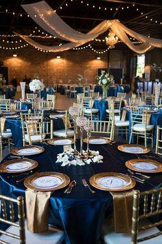 Ideas Wedding Reception Blue Decor For 2019 – Wedding Decor Navy Blue And Gold Wedding, Gold Wedding Colors, Gold Wedding Theme, Royal Blue And Gold, Dream Wedding, Luxury Wedding, Navy Gold Weddings, Sapphire Wedding Theme, Wedding Ideas Blue