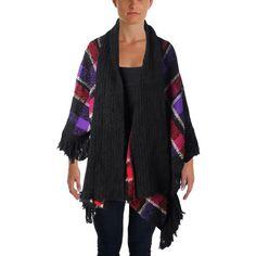 Lauren Ralph Lauren Womens Open Front Fringe Poncho Sweater