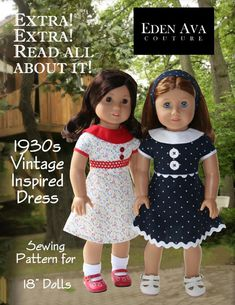 Eden Ava 1930's Vintage Dress Doll Clothes Pattern by LibertyJane, $3.99