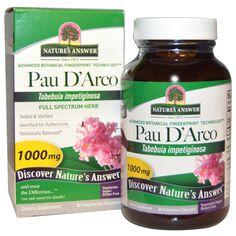 Nature's Answer, По д'Арко, 1000 мг, 90 растительных капсул Кора муравьиного дерева или Pau d'Arco – это растительный антибиотик и иммунокорректор с широким спектром действия. В его основе лежит лапахол – вещество, обладающее высокой биологической активностью.(Наиболее эффективны продукты пау д'арко, стандартизованные по содержанию 2-7% лапахола). Благодаря этому компоненту препарат обладает антивирусным, антингрибковым и противобактериальным действием.