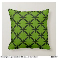 Clover green geometric trellis pattern throw pillow Green Cushions, Clover Green, Trellis Pattern, Decorative Cushions, Custom Pillows, Art Pieces, Lime, Throw Pillows, Fabric