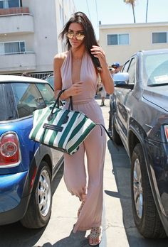 Kendall Jenner in Krisa Halterneck paired with a Celine tote out & about in L.A. #bestdressed