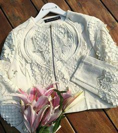 Cropped jacket with hand-cut appliqué detailing @pankajandnidhi