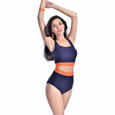 Cheap women sport swimsuit, Buy Quality swimsuit hangers directly from China swimsuit monokini Suppliers: 	PRODUCT		Vintage Women Orange Bandage Backless  Beachwear High Waist Swimsuit For Girls Retro Square Neck Swimwear